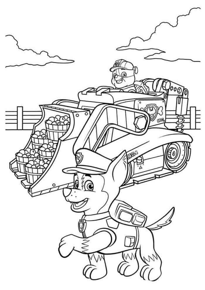 free paw patrol coloring page to print