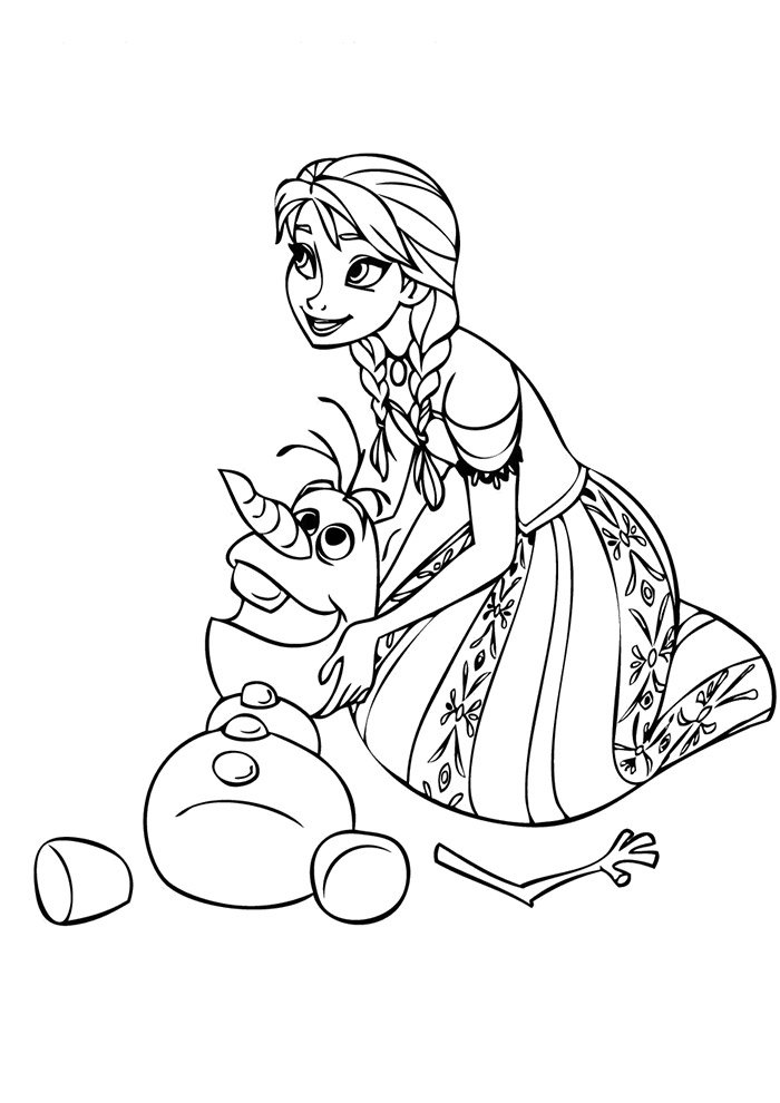 frozen and olaf coloring page