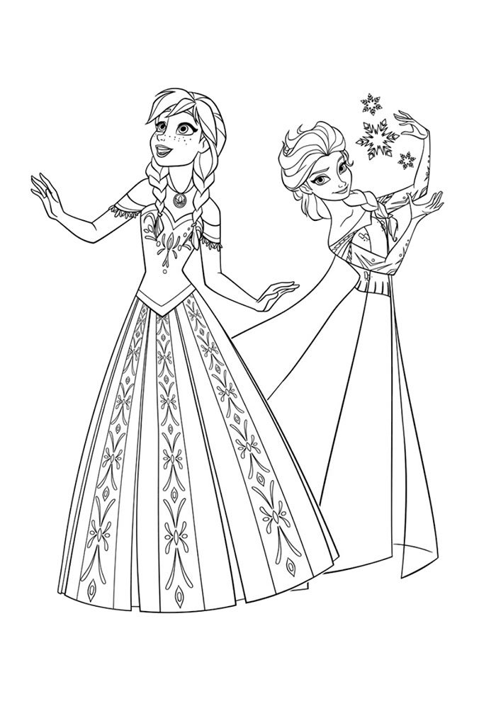 frozen coloring page ana and elsa