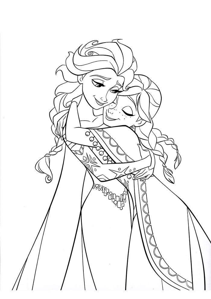 frozen coloring page frozen hugging elsa