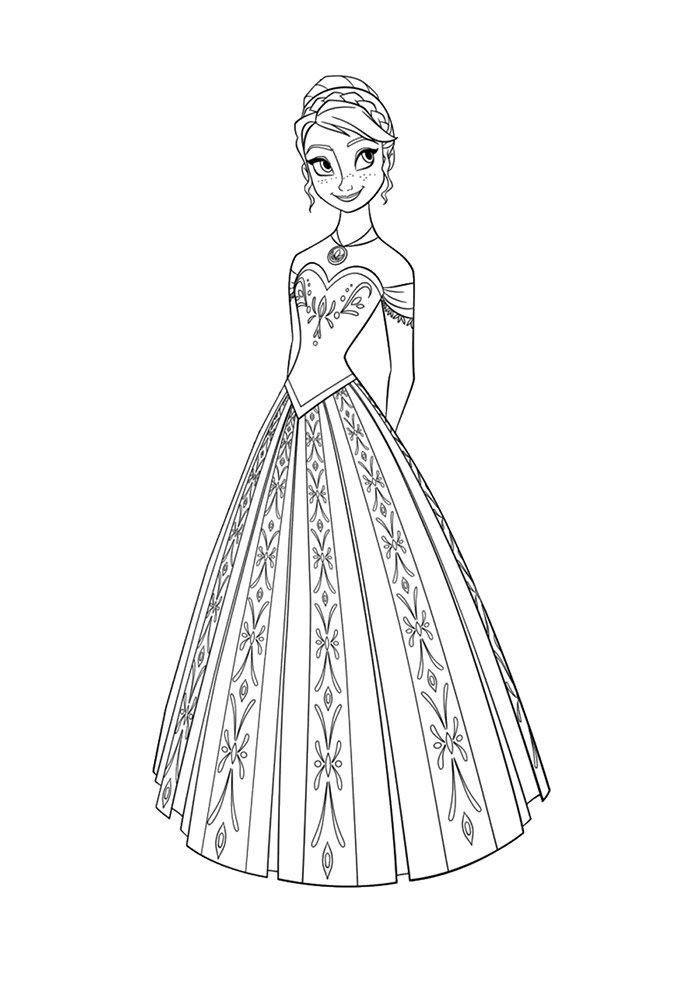frozen coloring page long dress