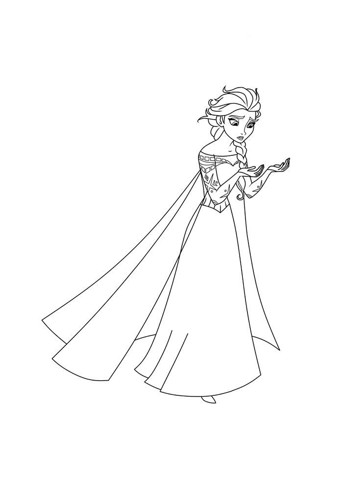 frozen coloring page thinking