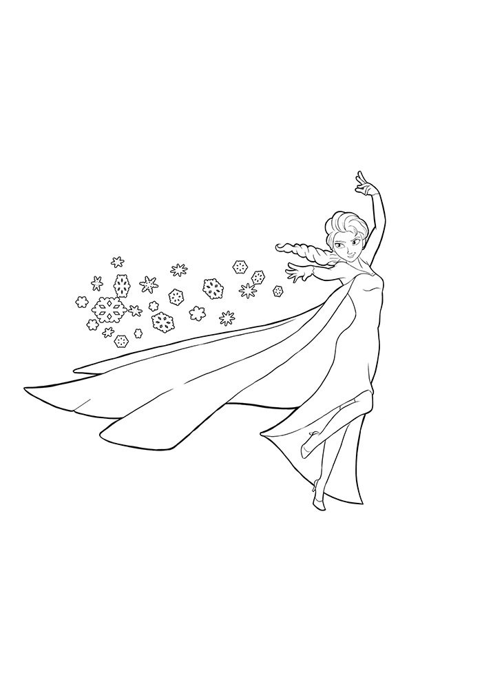 frozen coloring page throwing ice