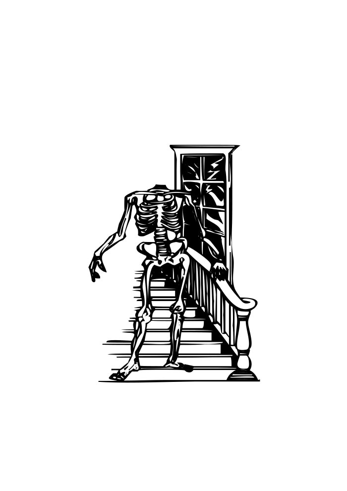 halloween coloring page skeleton