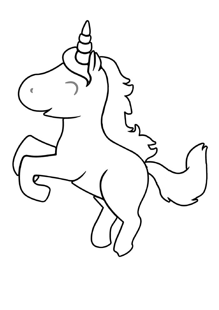 happy unicorn coloring page