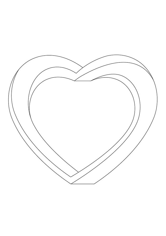 heart coloring page 3d