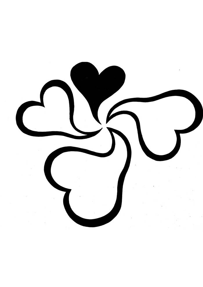 heart coloring page 4 small hearts