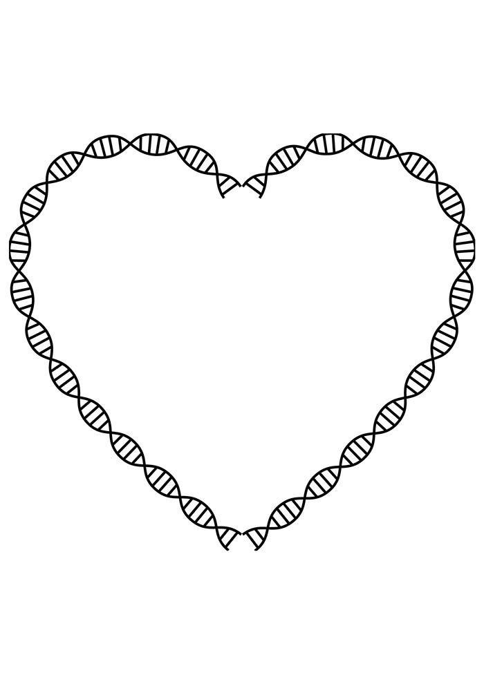 heart coloring page DNA