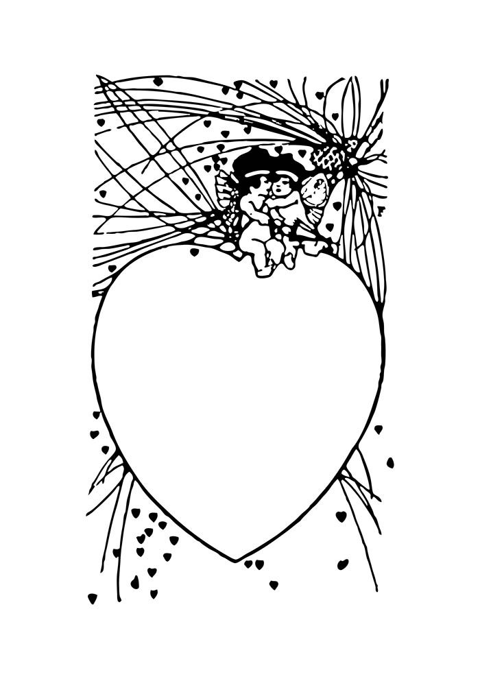 heart coloring page angels