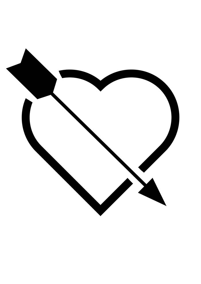 heart coloring page arrow