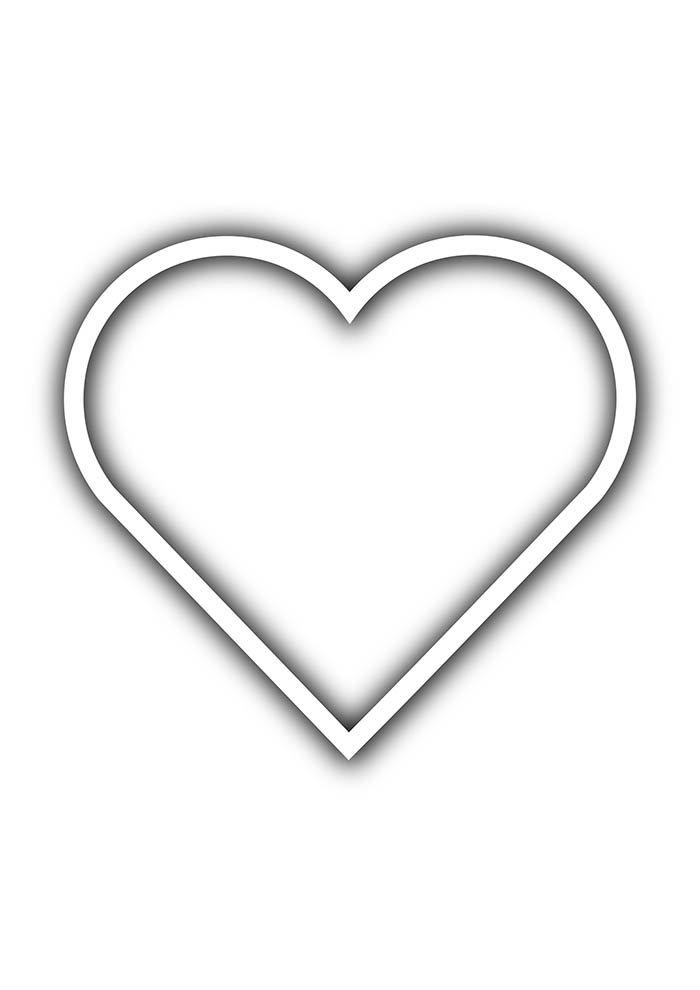 heart coloring page contour