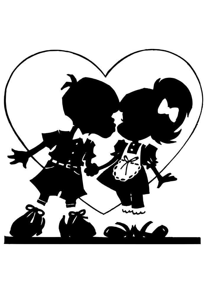 heart coloring page couple