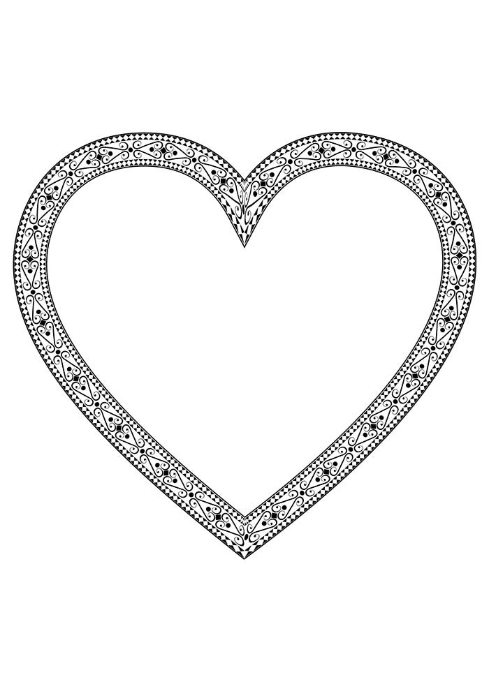 heart coloring page detailed edge