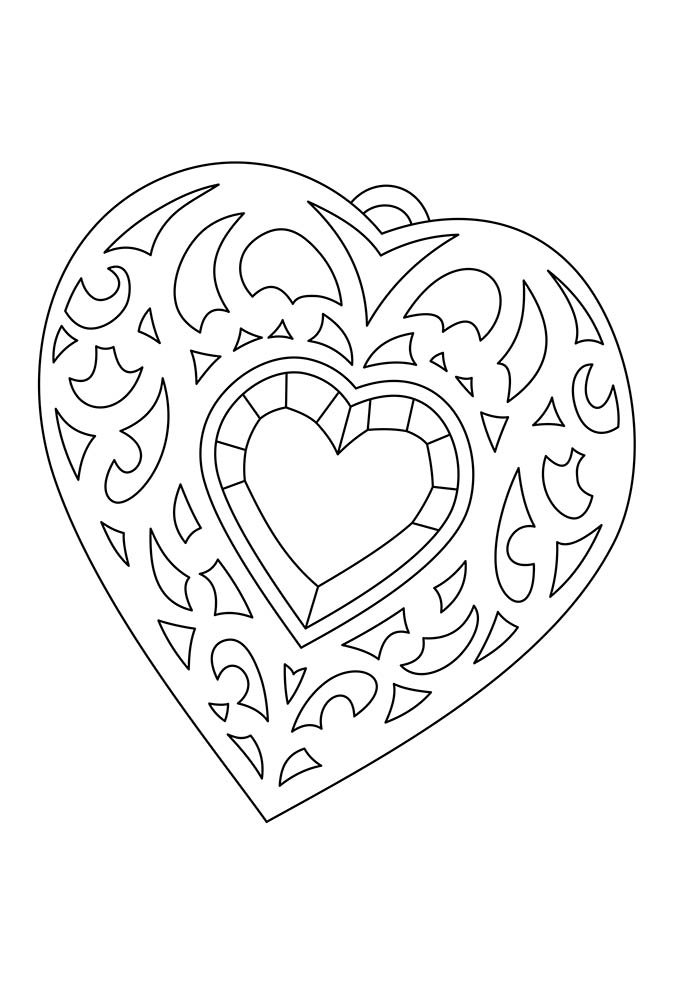 heart coloring page detailed