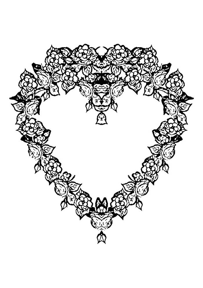 heart coloring page garland