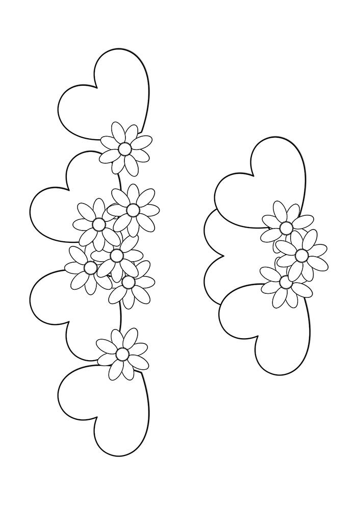 heart coloring page hearts with flowers
