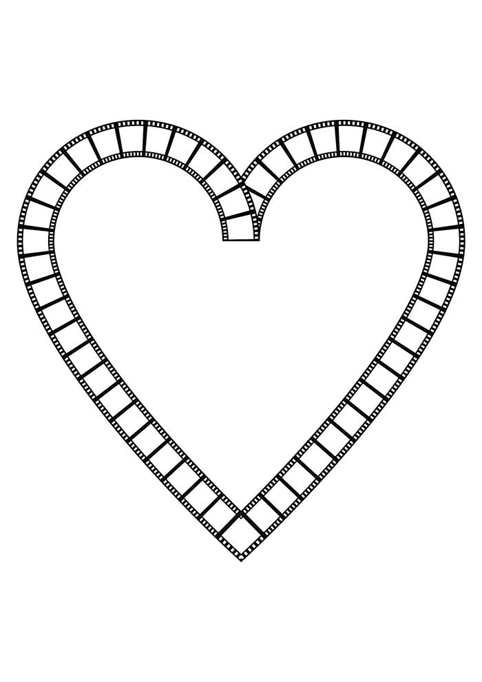 heart coloring page photographic film