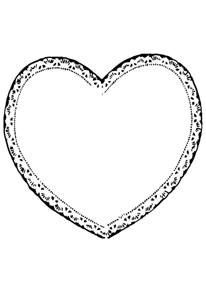 heart coloring page romantic