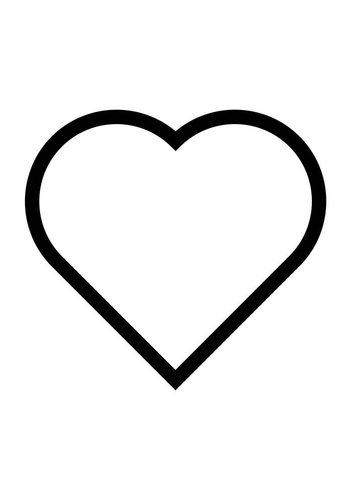 heart coloring page thick