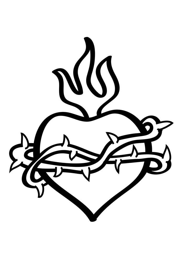 heart coloring page thorn