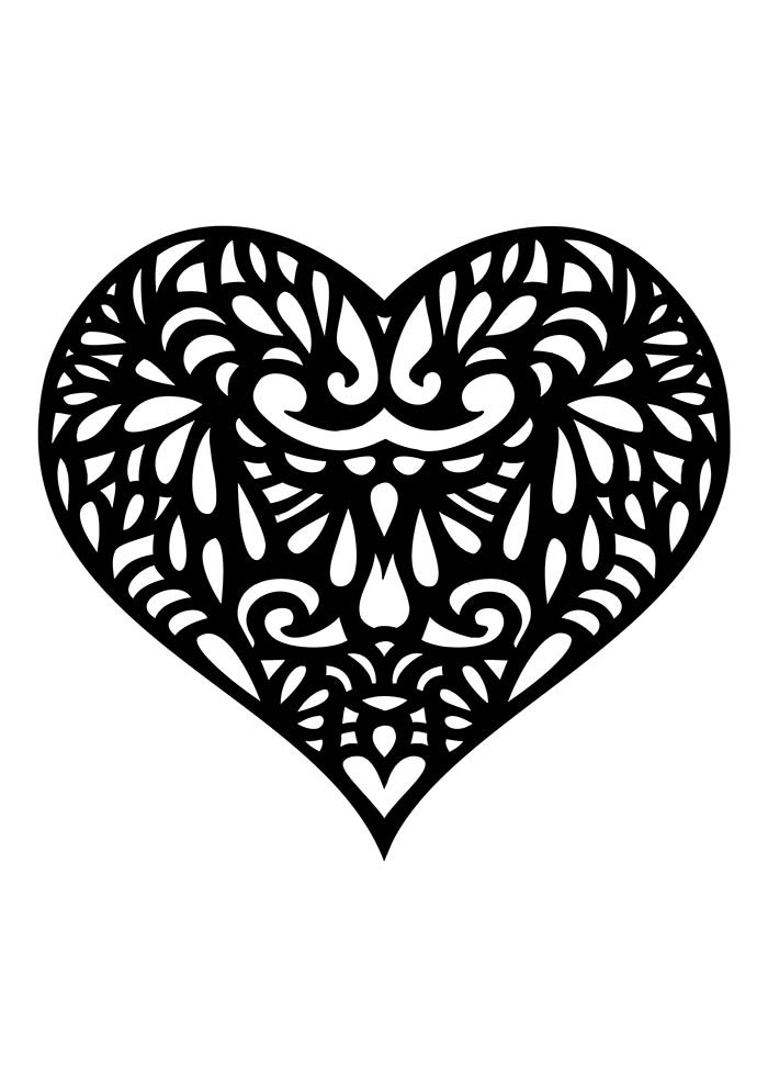 heart coloring page very detailed