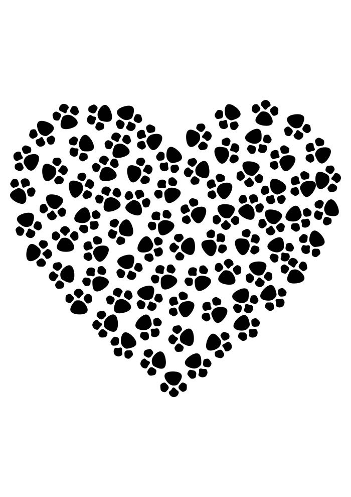 heart coloring page with animal legs