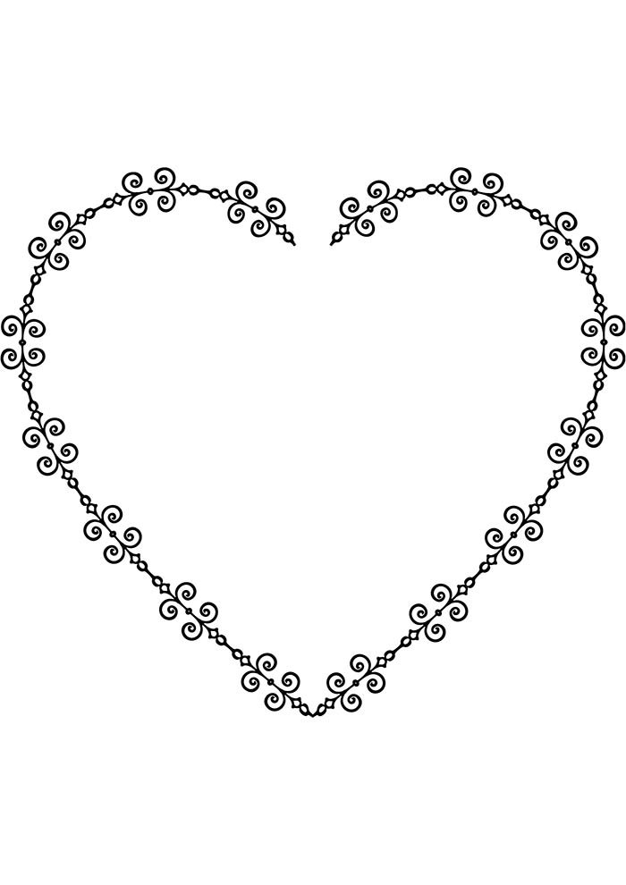 heart coloring page with flowers