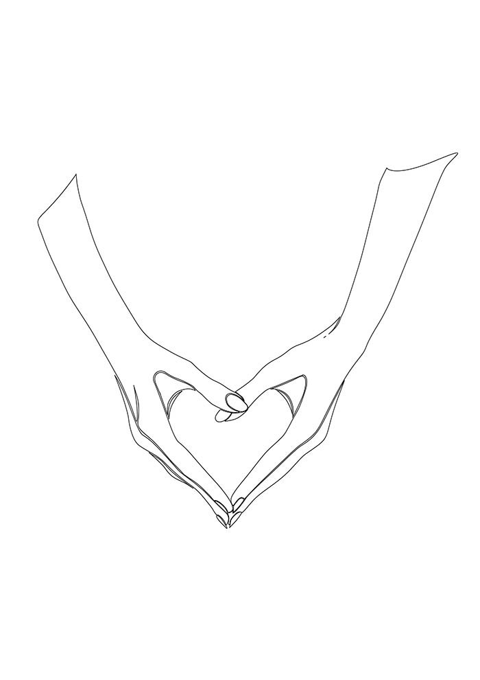 heart coloring page with hands