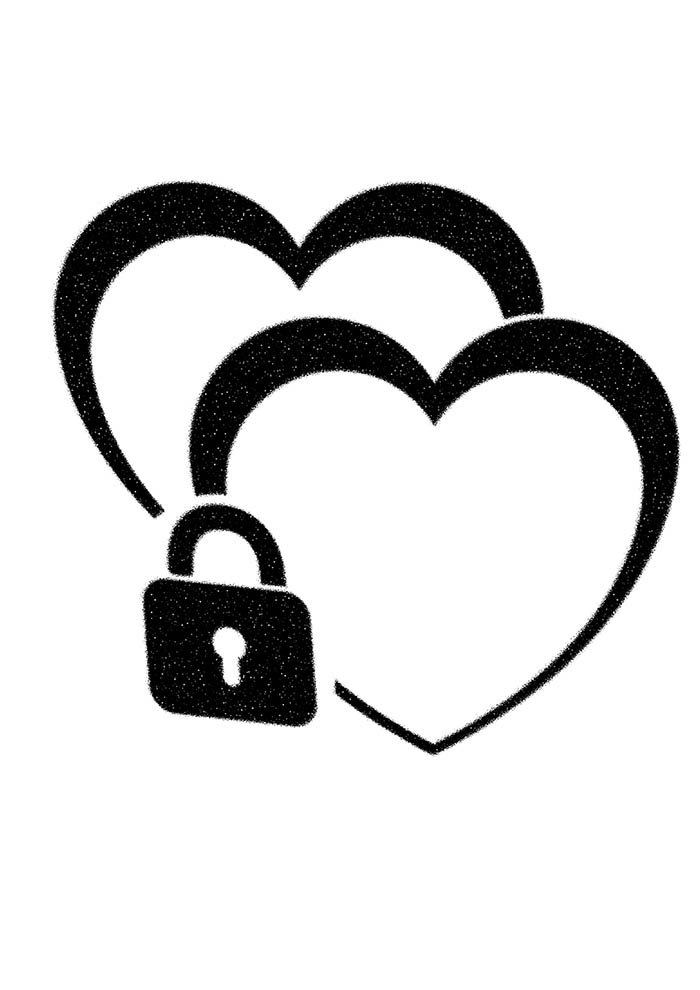 heart coloring page with padlock