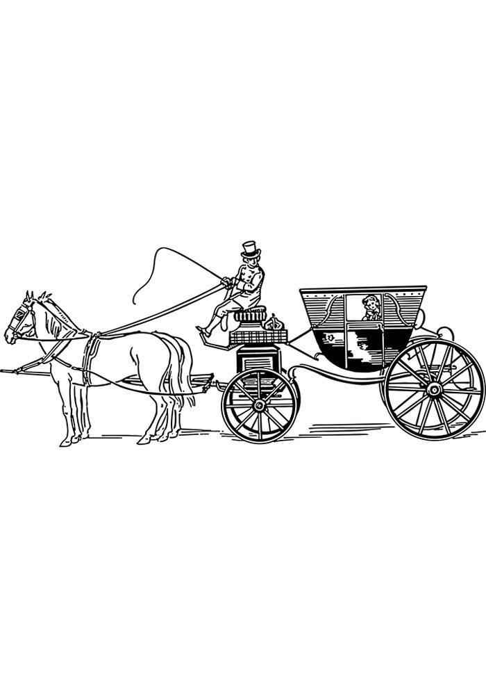 horse and carriage coloring page