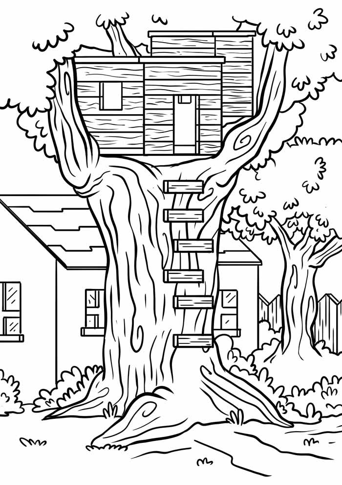 house tree coloring page