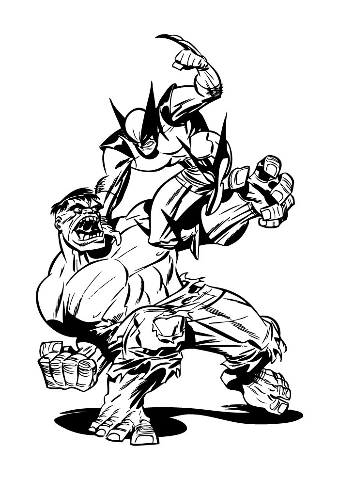 hulk and volverine coloring page