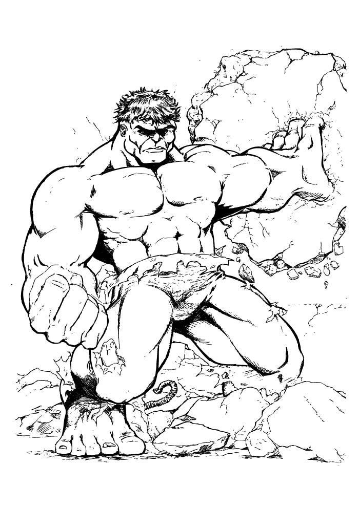 hulk coloring page breaking the wall