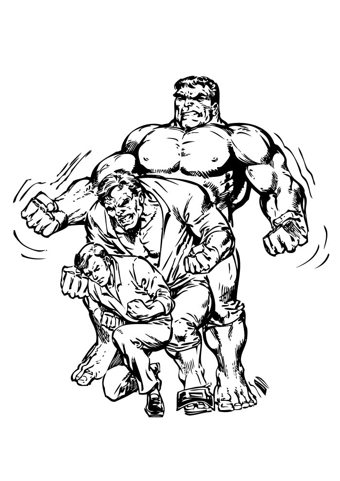hulk coloring page fighting