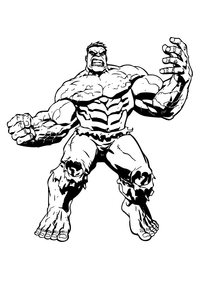 hulk coloring page muscles