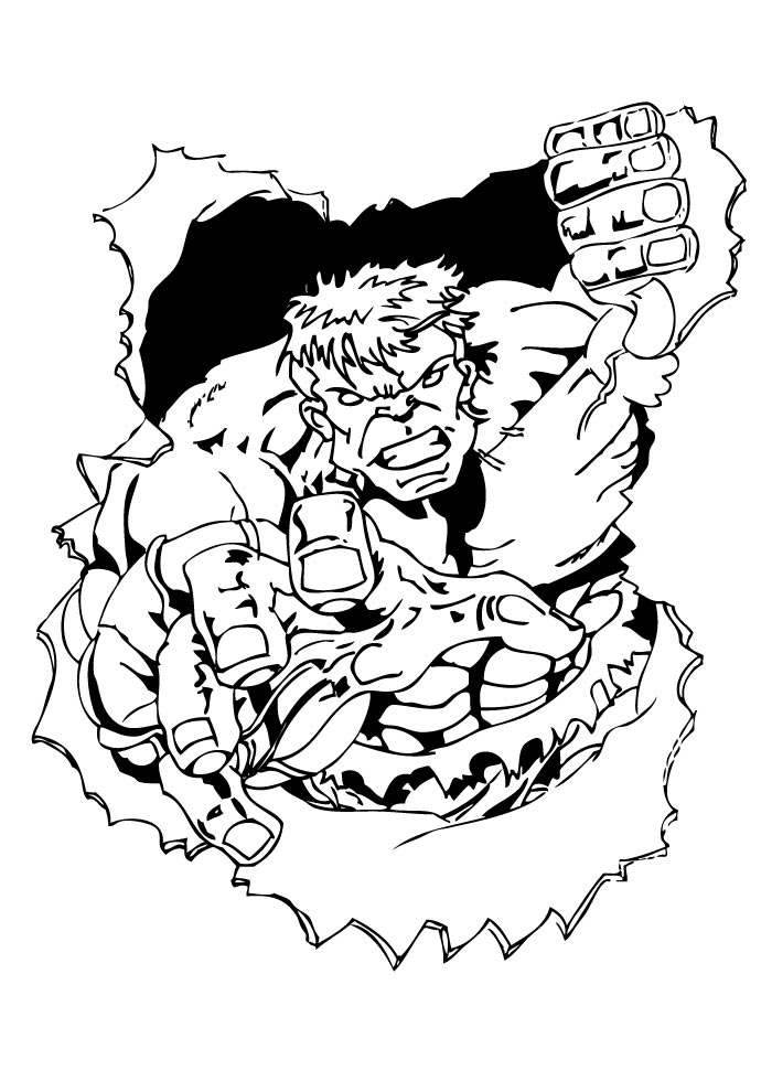 hulk coloring page through the wall