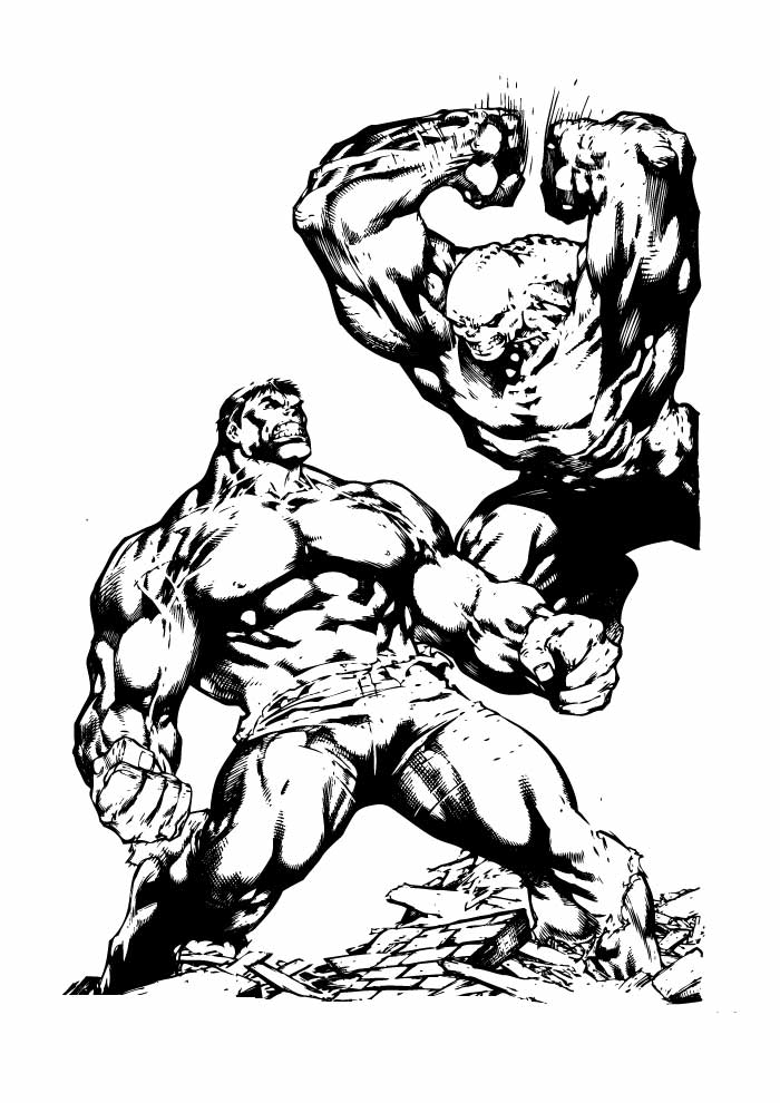 hulk fighting coloring page