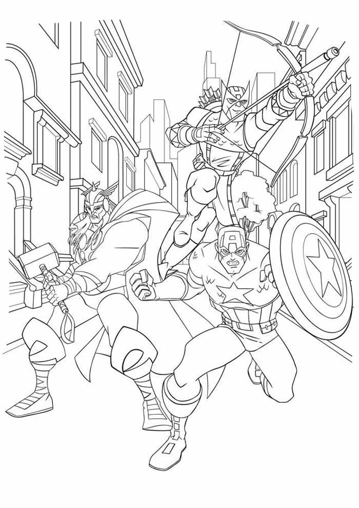 iron man and heros coloring page