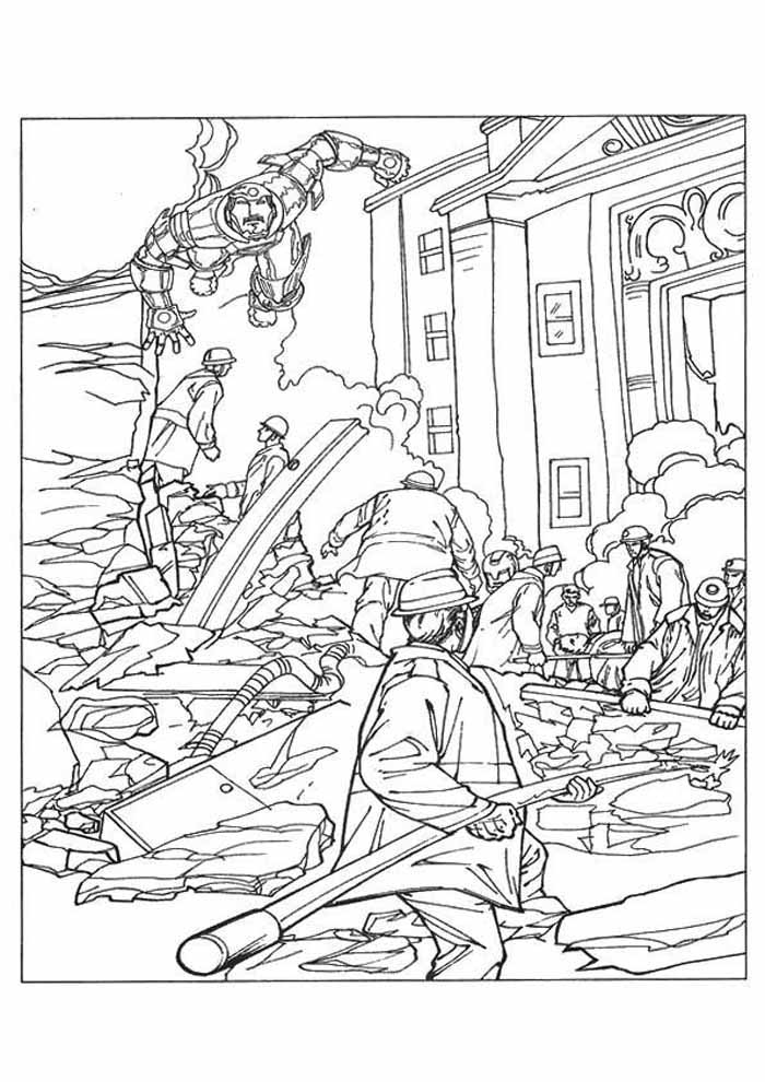 iron man coloring page city