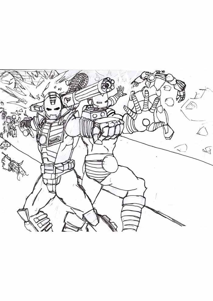 iron man coloring page fighting