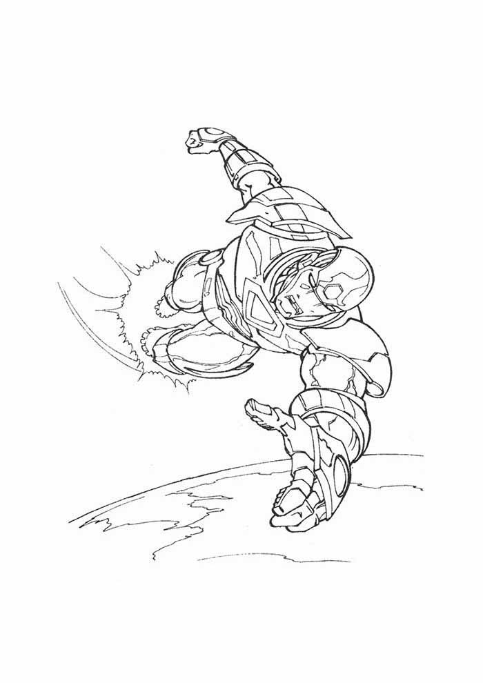 iron man coloring page flying 1