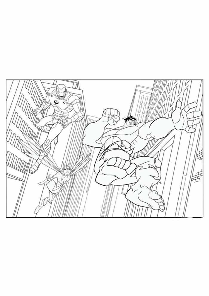 iron man coloring page in the city