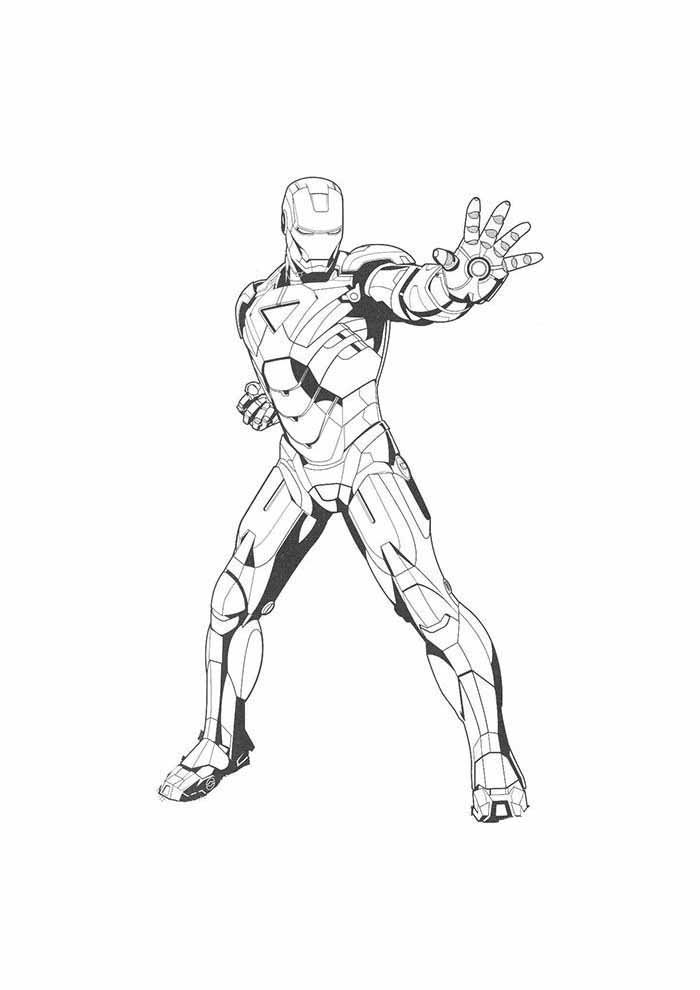 iron man coloring page standing