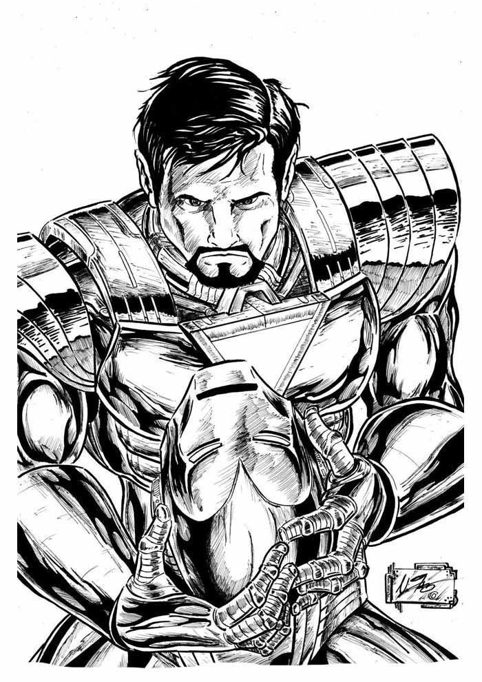 iron man without mask coloring page