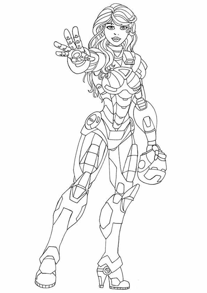 iron woman coloring page