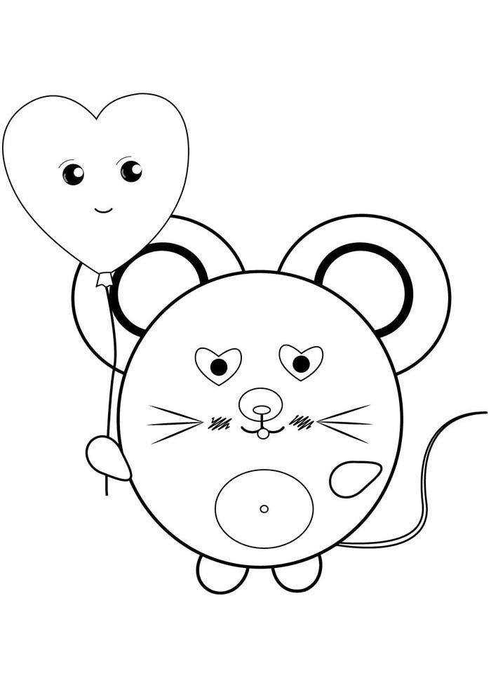 kawaai coloring page cute rat