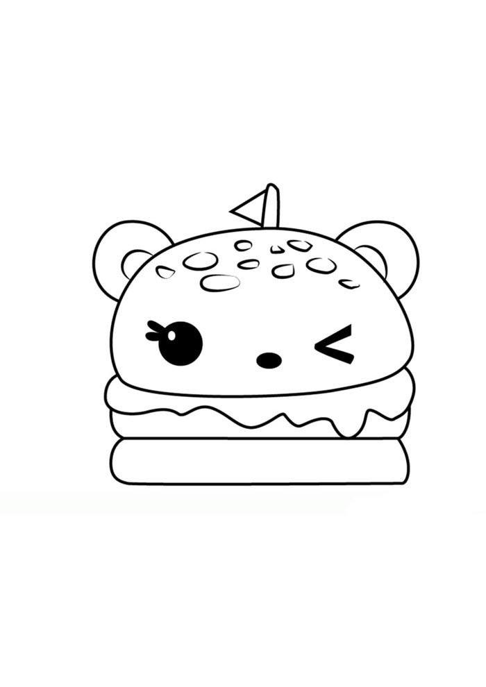 kawaii coloring page burger