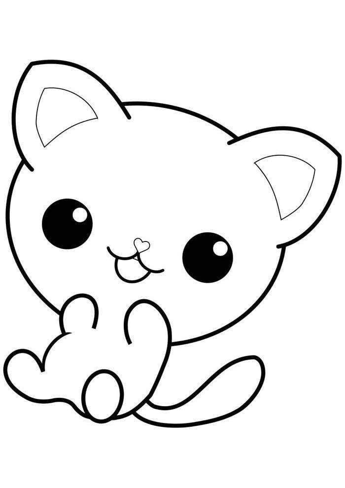 kawaii coloring page cat