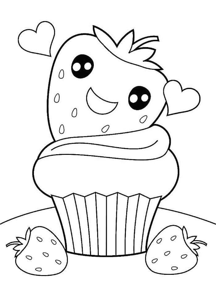 kawaii coloring page cupcake