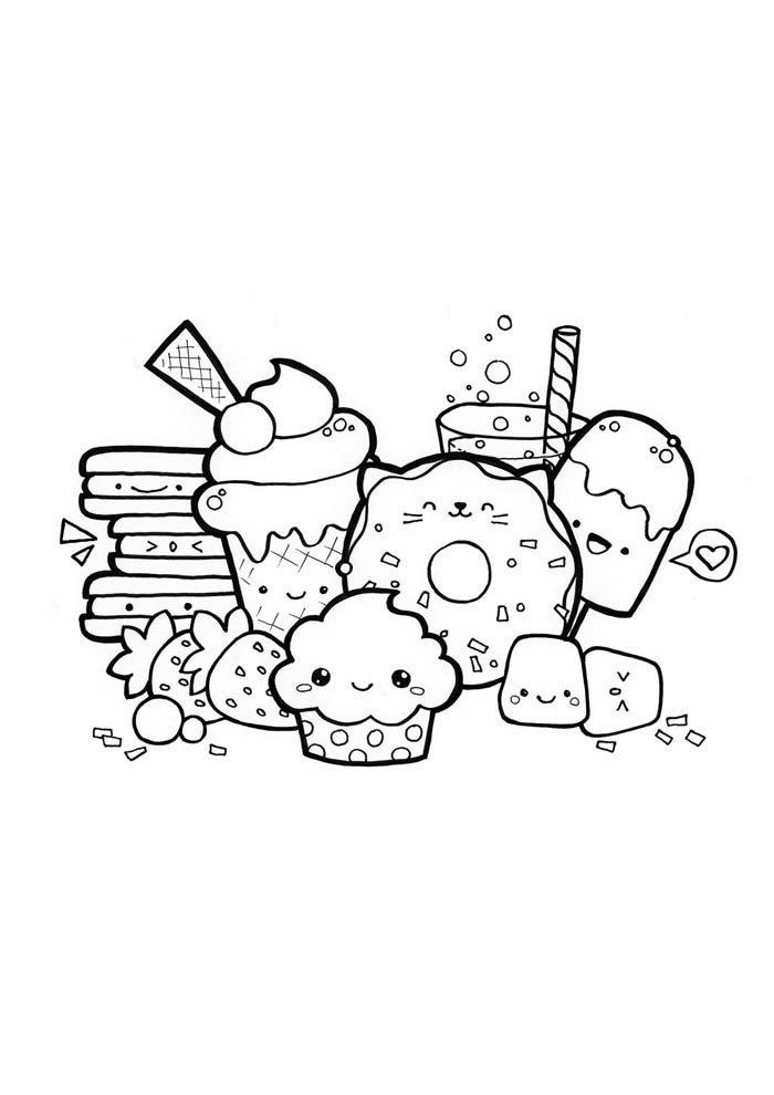 kawaii coloring page desserts